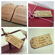 Personalised Wooden Engraved Gift Tag With any Message Your own Design