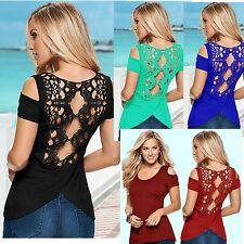 New Fashion Women Summer Lace Backless Off Shoulder T Shirts Tops Blouse Clothes