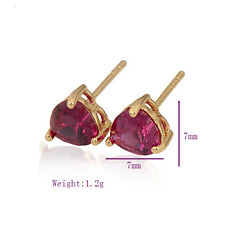 Chic Charming 18K Yellow Gold Filled Colorful CZ womens heart stud earrings