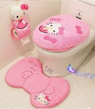 Hot New Hello Kitty 4pcs/set Toilet Cover Bath Mat WC Cover Free Shipping