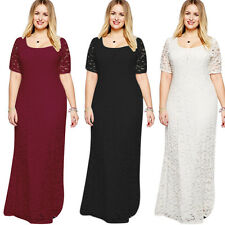 Women Lady Girl Party Pagent Evening Lace Short Sleeve Long Maxi Dress Plus Size