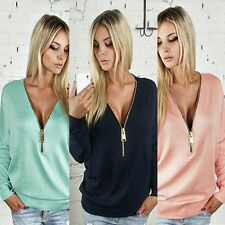 Fashion New Women Sexy V-neck Zipper Hoody Blouse Tops Shirt Long Sleeve Clothes
