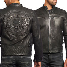 Affliction On Fire Winged Skull Motorcycle Mens Leather Jacket Black LE $595 NEW