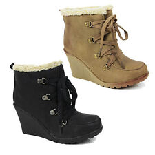 WOMENS LADIES CASUAL WEDGE HEEL FUR LINED LACE UP ANKLE BOOTS SHOES SIZE 3-8