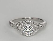2.0 Ct Vintage Floral Halo Round Cut Diamond Engagement Ring 14K White Gold Over