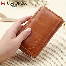 MIUMOFOX Unisex Genuine Leather Car Key Case Zipper Wallet Card Holder Key bag