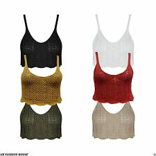 New Women Ladies Knitted Crochet Bralet Crop Fitted Strappy Cami Vest Top  8-14