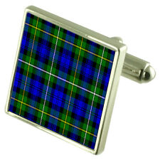Campbell Tartan Cufflinks Choice of Silver Gold Engraved Lape Pin Gift APS043