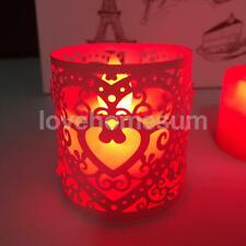 6pcs Heart LED Tea Light Candle Holders Wedding Christmas Decoration