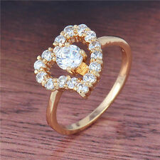 Chic Lovely 18K Yellow Gold Filled Crystals Womens Heart Ring,Size 6,7,8,9