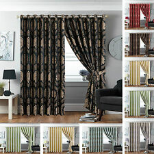 LUXURY JACQUARD Curtains Fully Lined Ready Made Tape Top OR Pencil Pleat Curtain