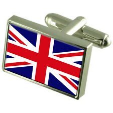 Great Britain Flag Cufflinks Tie Clip Lapel Badge Engraved Gift Set WFC166