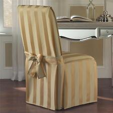 SET OF 2 Chic Fancy Wide Stripe Dining Chair Covers Slipcovers Linens 2 Colors