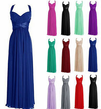 STOCK Size 6-18 Long Chiffon Bridesmaid Dress Prom Dress Formal Evening Dresses