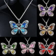 Crystal Butterfly Rhinestone Pendant Necklace Jewelry Long Sweater Chain Exotic