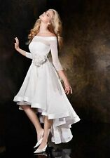 hot sole half sleeve High Low Short White Ivory Wedding Dress Bridal Gown
