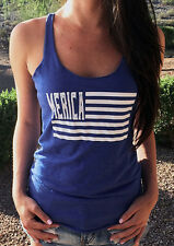 Women Striped Letters Sleeveless Crewneck Tee T-shirt Vest Camisole Tank Top