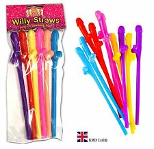 WILLY SIPPER STRAWS Sucking fun Hen Do Girls Night Stag Party Drink Colourful UK