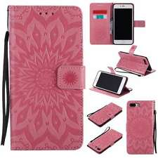 KT PU Leather Case Wallet Pouch Cover Flip Stand Skin For Phones Sunflower Pink