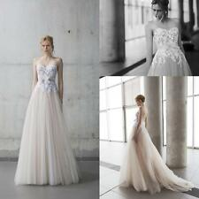 Strapless Lace Appliques Wedding Dress Maxi Long A Line Garden Bridal Gown HD198