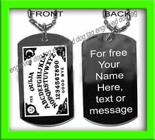 MINI OUIJA BOARD ENGRAVED GOLD OR SILVER DOG TAG PENDANT+FREE NAME+MESSAGE TEXT