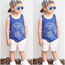 Toddler Kid Baby Boy Cotton Sleeveless T-shirt Vest Top & Shorts Sports Clothes