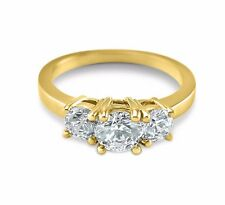 14K Yellow Gold 3 stone engagement ring Forever Brilliant Moissanite round 1 CTW