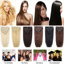 US 100% Natural Hair Clip in Hair Extensions 7/8 Pieces Full Head Long As Human