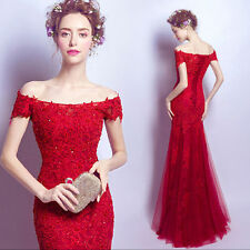 Sexy Women Red Lace Wedding Dress Bridal Gown