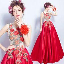 Red Flower Embroidery Wedding Dress Bridal Gown Formal Dress