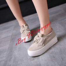Plus Size Cute Womens Casual Shoes Bowknot Slip On Loafers Hidden Heel Shoes New