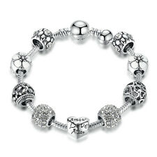 DIY European 925 Silver Clear Crystal Love Heart Charm Bracelet w All Charms