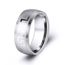 Fashion Mens Stainless Steel White Greek Key Center Stripe Ring Band
