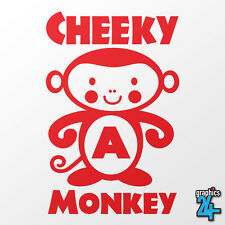 Personalised Initial Children's Cheeky Monkey Vinyl Wall Art Sticker Decal Decor