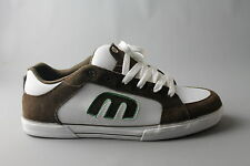 ETNIES DASIT SMU MENS BROWN AND WHITE LEATHER AND SUEDE SHOES WITH LACES