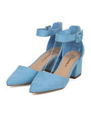 New Women Breckelles Marie-11 Faux Suede Pointy Toe d'Orsay Chunky Heel Pump
