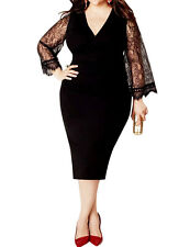Plus Size XL-6XL Women Lace Sleeve Bodycon Bandage Evening Party Cocktail Dress