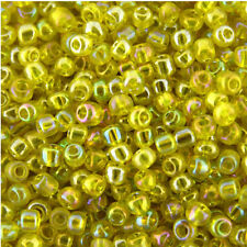 100g Yellow Transparent Rainbow Glass Seed Beads Size 8/0 (3mm),Jewellery Making
