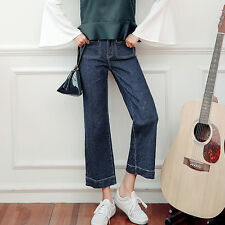 Women's Korean Style Fashion Denim Loose Straight Leg Casual Cropped Jeans