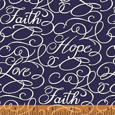 Windham Fabrics - Faith by Whistler Studios Navy Words 43028-1