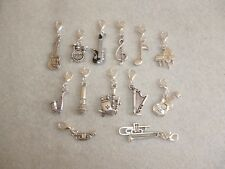Orchestra Instruments Music Clip-On Silver Charms Guitar Drums Bagpipes Trumpet