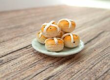 Miniature Hot Cross Buns - Easter Miniature - Dolls House Miniature Food - Baker