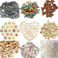 50/100pcs Natural Wood Handmade 2 Holes Wooden Round Buttons Sewing Scrapbooking