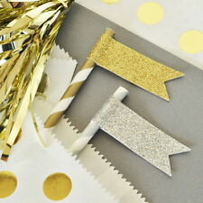 144 Glitter Flag Labels Gold Silver Bridal Shower Wedding Party Decorations