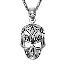 Top Rocker Gothic Flame Skull Titanium 316L Stainless Steel Pendant Necklace 490