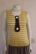 Venera Arapu Paris Yellow Striped Cashmere Blend Sleeveless Sweater Tunic Med