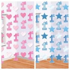6 x 7ft Baby Girl Boy 1st Birthday Party Hanging String Decorations Pink Blue