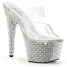 PleaserUSA BEJEWELED-702PS Pleaser Womens High Heel Slide Sandals Clear/Silver