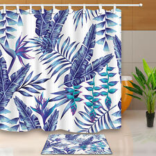 Banana Leaves Design Waterproof Shower Curtain Polyester Fabric Bathroom Decor