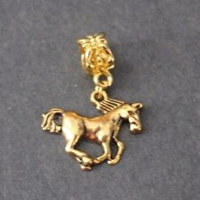1 X  GOLD TROTTING HORSE BAIL BEAD CHARMS EUROPEAN STYLE BRACELET